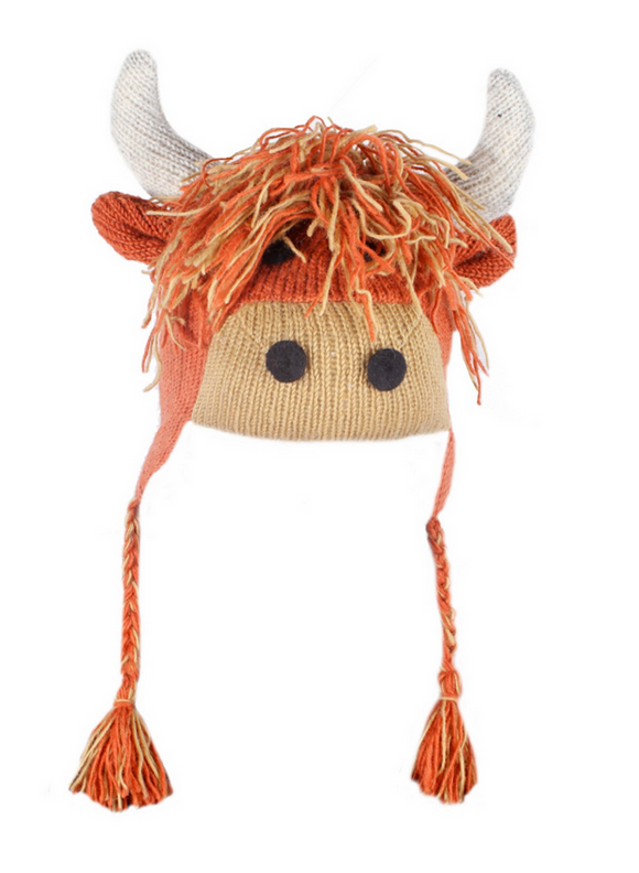 Sustainable Fair Trade Kids Highland Cow Wool Chullo Hat