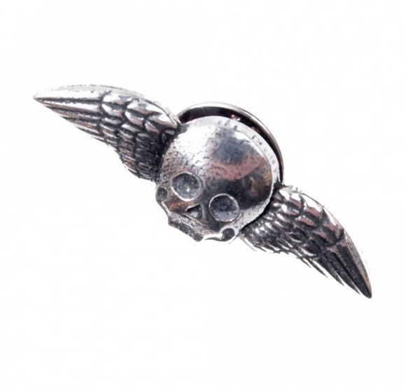 Stunning Scottish Pewter Clutch Pin - Winged Skull