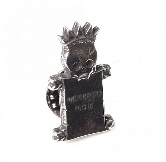 Stunning Scottish Pewter Clutch Pin - Memento Mori