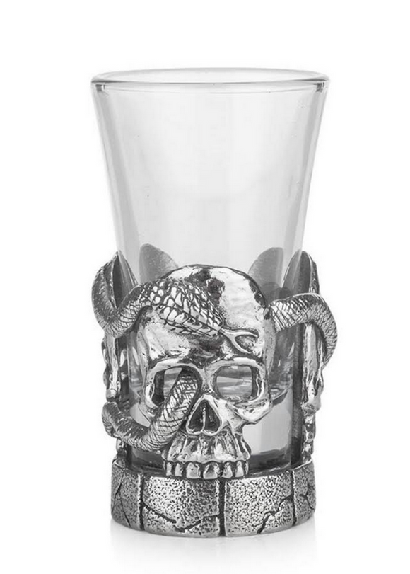 Stunning Pewter Scottish Skull Snake Serpent Shot Tot Glass