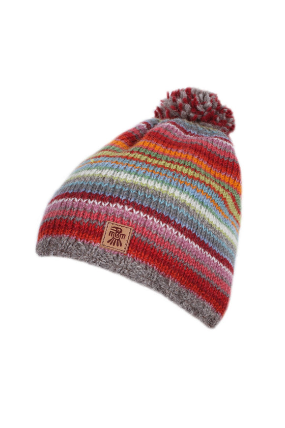 Sustainable Fair Trade Seville Rainbow Strip Natural Wool Child Childrens Bobble Beanie Hat