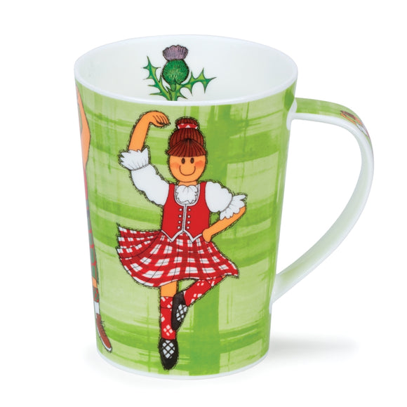 Lovely Dunoon Highland Games Scottish Highland Dancer Dancing Fine Bone China Mug Argyll Style