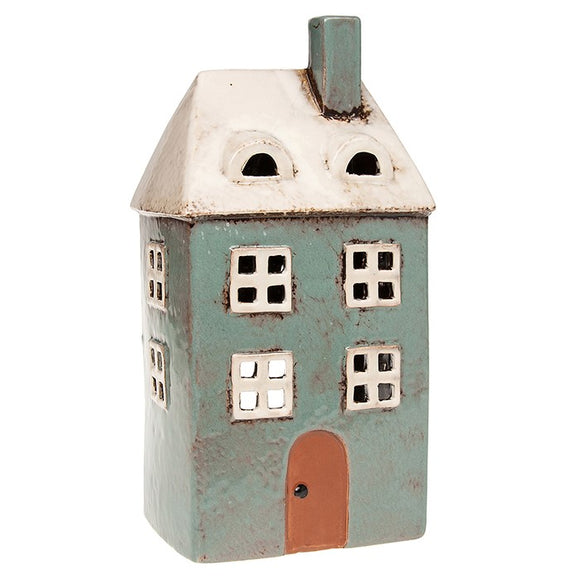Village Pottery Ceramic Tall Sea Green Single House Tealight Candle Holder
