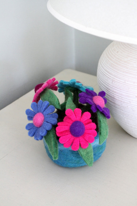 Sustainable Fair Trade Handmade Felted Multi Colour Gerbera Flower Pot