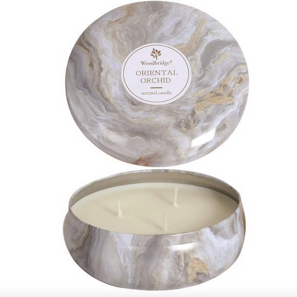 Oriental Orchid Ylang Ylang Fragrance Woodbridge White Marble Three Wick Candle Tin - ready