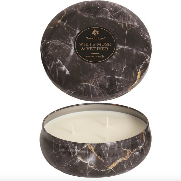White Musk & Vetiver Fragrance Woodbridge Black Marble Three Wick Candle Tin