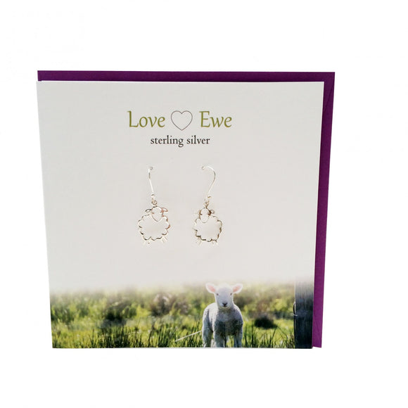 The Silver Studio Scotland Super Cute Love Ewe Sheep Sterling Silver Dangle Drop Earrings Card & Gift Set