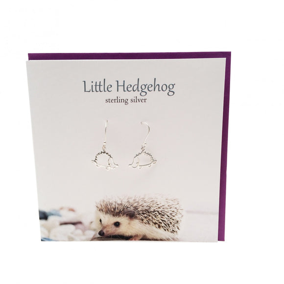 The Silver Studio Scotland Super Cute Little Hedgehog Sterling Silver Dangle Drop Earrings Card & Gift Set