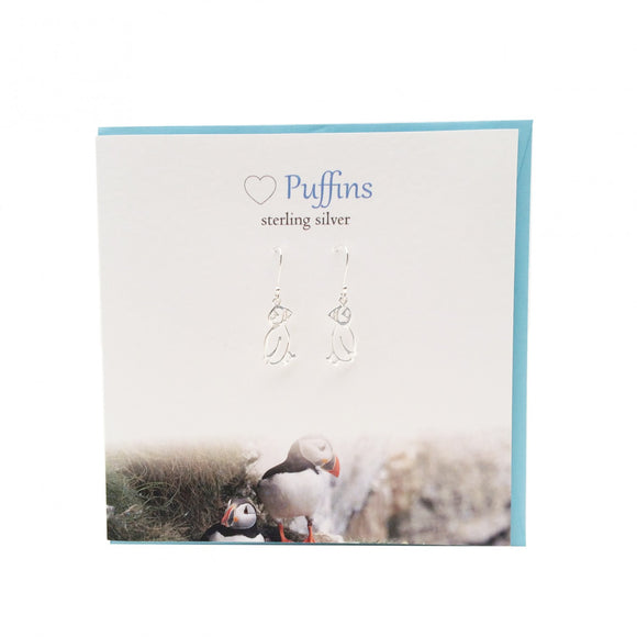 The Silver Studio Scotland Super Cute Puffin Sterling Silver Dangle Drop Earrings Card & Gift Set