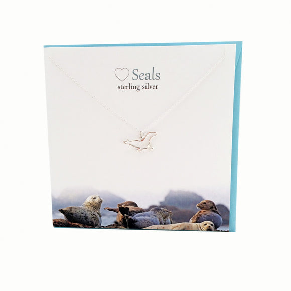 The Silver Studio Scotland Super Cute Seal Sterling Silver Necklace & Pendant Card & Gift Set