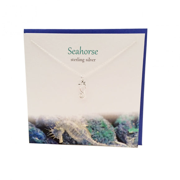 The Silver Studio Scotland Seahorse Sterling Silver Necklace & Pendant Card & Gift Set
