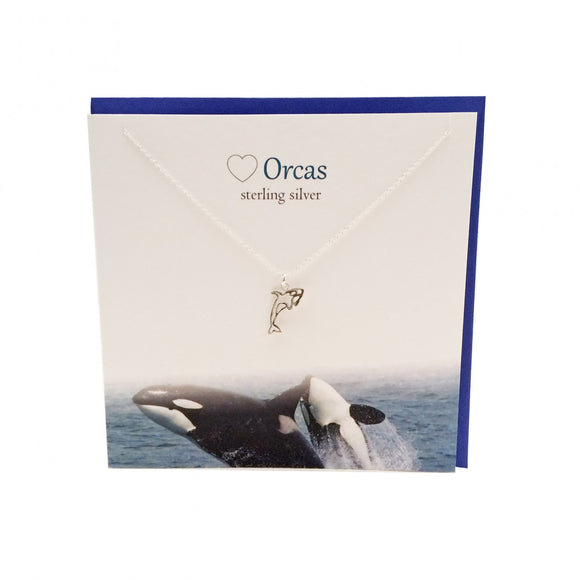 The Silver Studio Scotland Orca Whale Sterling Silver Necklace & Pendant Card & Gift Set