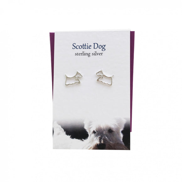 The Silver Studio Scotland Scottie Dog Terrier Sterling Silver Stud Earrings Card & Gift Set