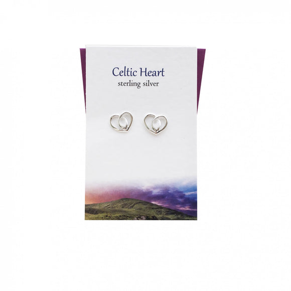 The Silver Studio Scotland Celtic Knotwork Love Heart Sterling Silver Stud Earrings Card & Gift Set