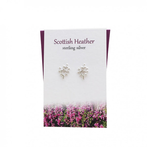The Silver Studio Scotland Scottish Heather Sterling Silver Stud Earrings Card & Gift Set