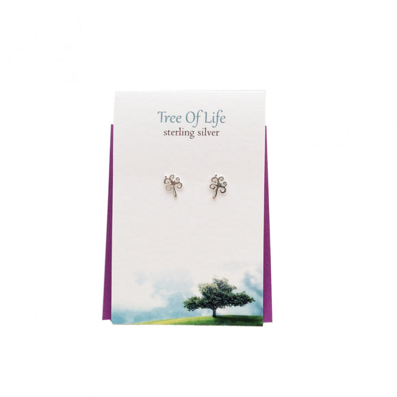 The Silver Studio Scotland Celtic Tree Of Life Sterling Silver Stud Earrings Card & Gift Set