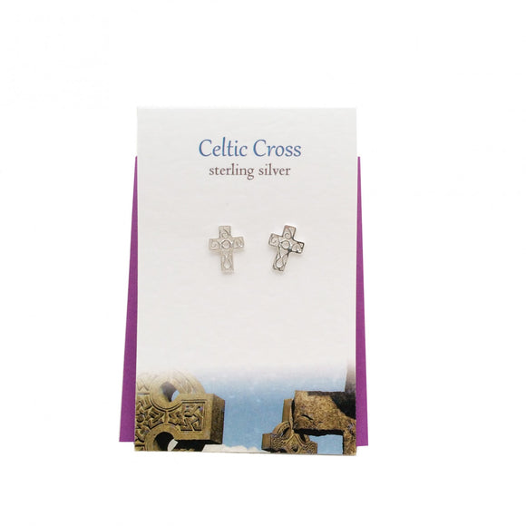 The Silver Studio Scotland Celtic Cross Sterling Silver Stud Earrings Card & Gift Set