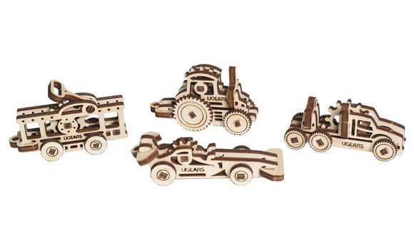 Ugears Set of Four U-Fidget Car Tractor Truck Vehicle Wooden Model Construction Kit