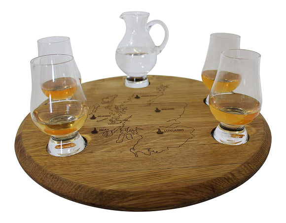 Oak Wood Scottish Whisky Barrel Tasting Set with 4 Glencairn Glasses & Water Jug