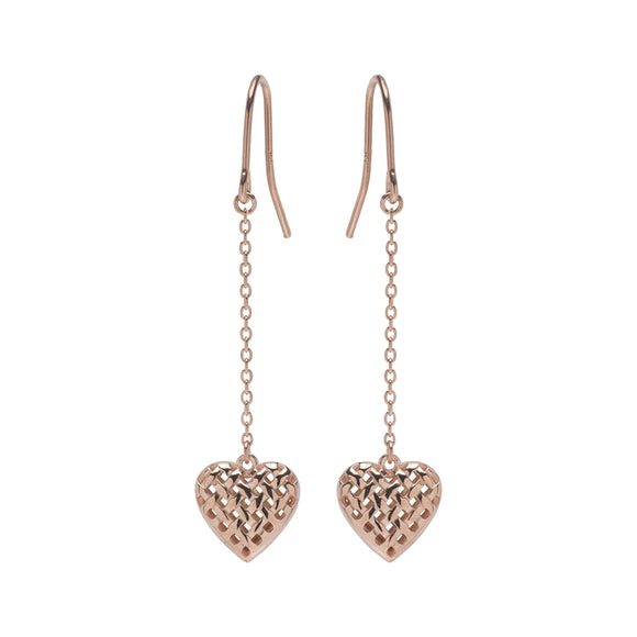 Unique & Co Sterling Silver Rose Gold Plated Love Heart Drop Earrings