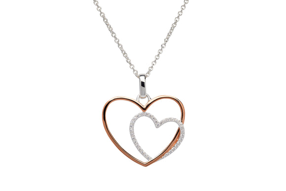 Unique & Co Sterling Silver & Rose Gold Plated Intertwined Double Love Heart Necklace Pendant
