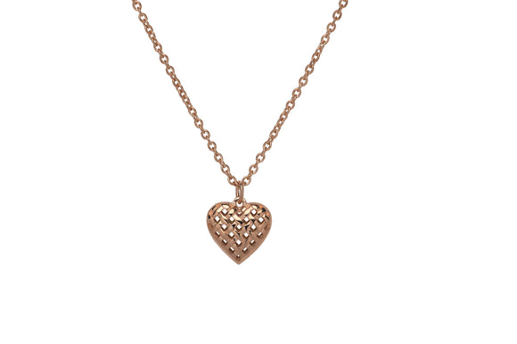 Unique & Co Rose Gold Plated Dainty Love Heart Necklace