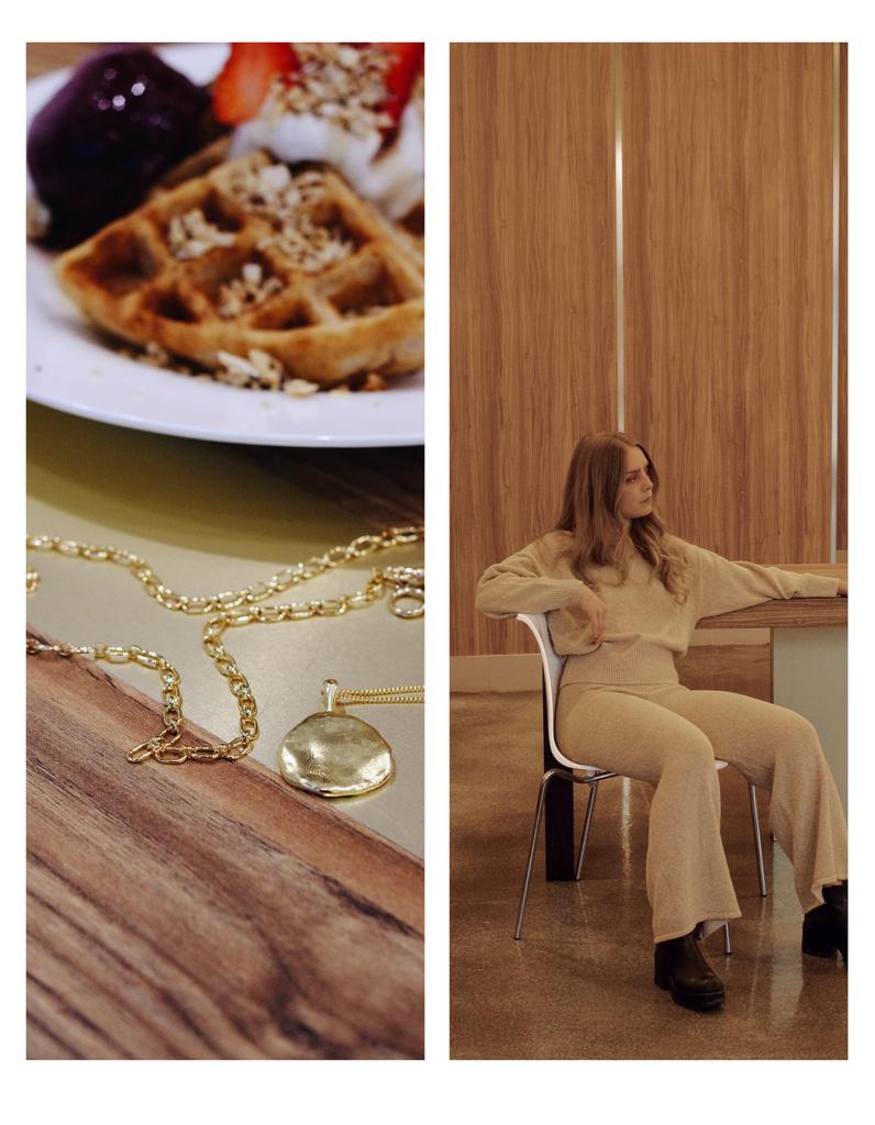 a photo series of two images. Left photo shows a plate of waffles  and a gold necklace draped on the table infront. Right photo shows a blonde model sitting in a white chair wearing a beige knit sweater and pants.