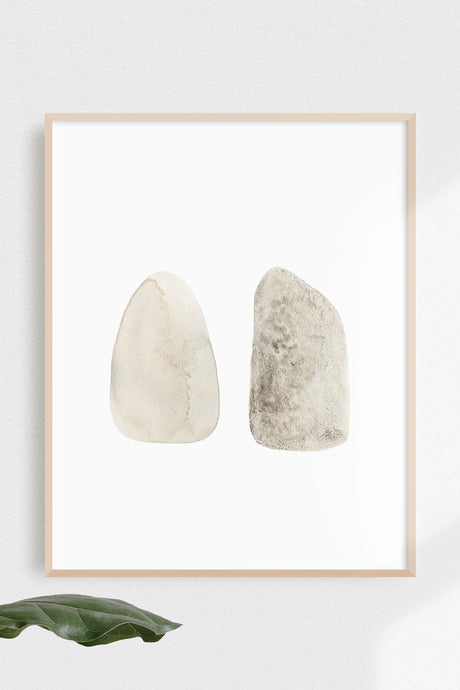 Two Stones / natural watercolour art print