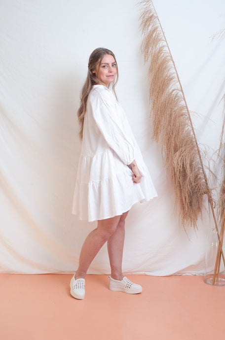 Avalon Smock Dress / white