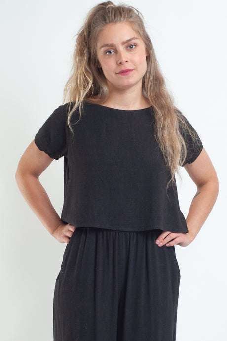 Linen Keith Top / black