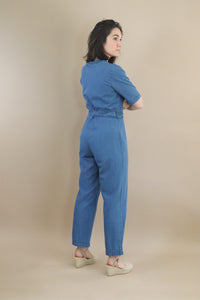 long denim jumpsuit with belt