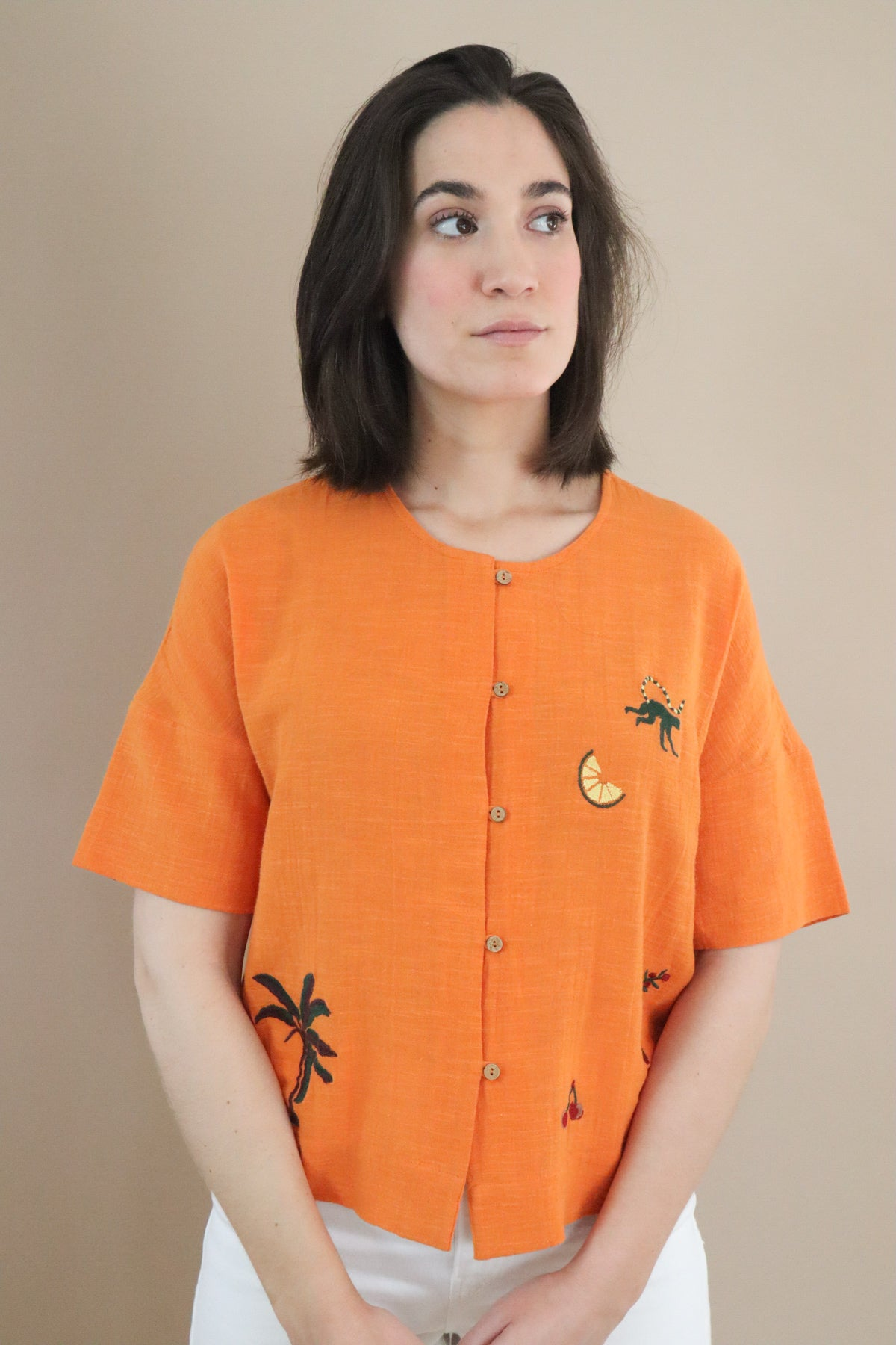 original top in orange
