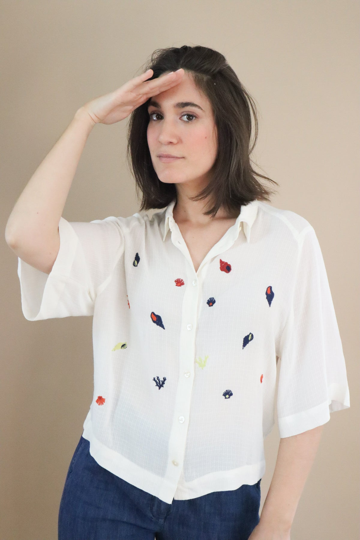 embroidery coral reef shirt