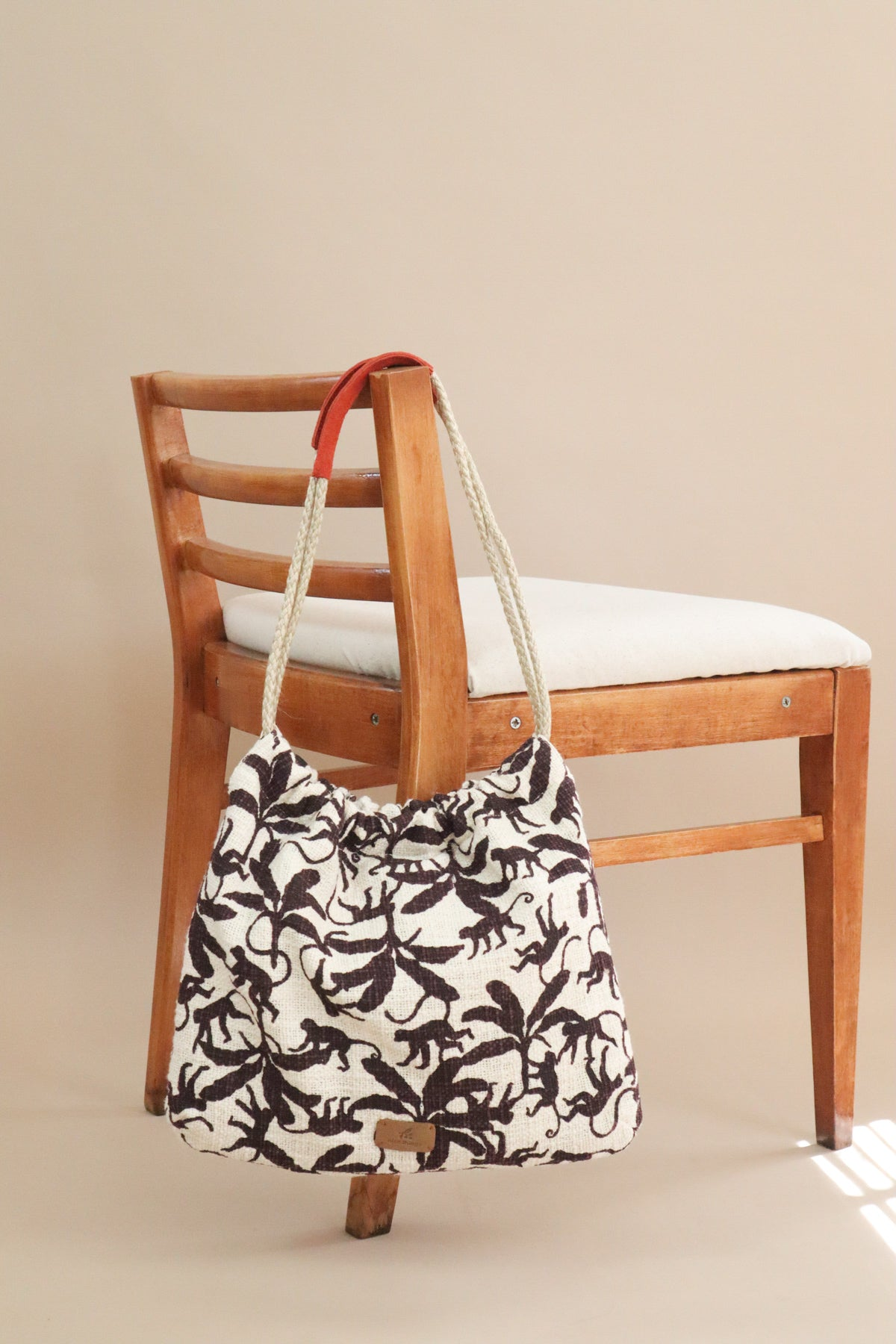 Monkey Print Bag - Beige