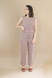 Zia Jumpsuit - Maroon Checkered