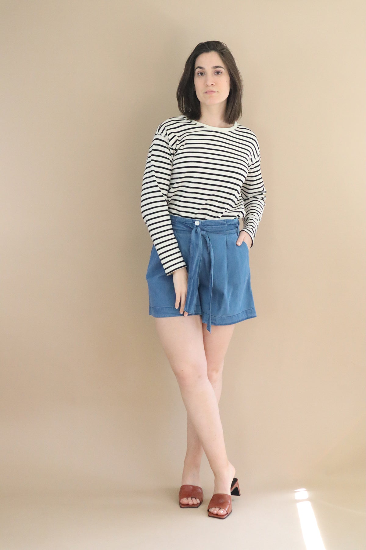 Shorts with belt – Denim