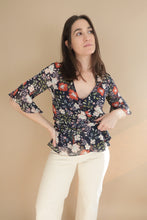 Load image into Gallery viewer, Calquette Wrap Top - Nostalgic Floral Blue