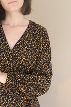 Load image into Gallery viewer, floral wrap top in brown