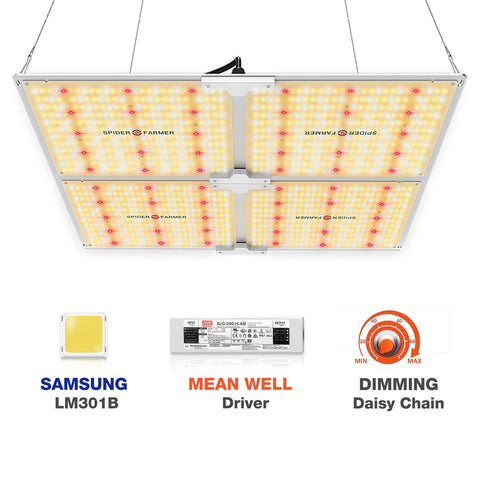 New Spider farmer SF4000 LED Grow Light With Dimmer Knob Full Spectrum Samsung diodes