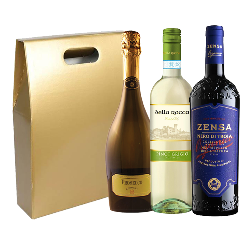 Italian Wine Gift Set, prosecco, red wine and white wine