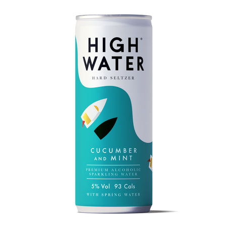 High Water Hard Seltzer 5% ABV, Cucumber and Mint, 250ml Can