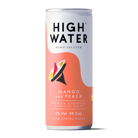High Water Hard Seltzer 5% ABV, Mango and Peach, 250ml Can