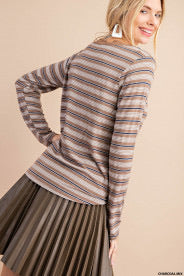 Mixed Stripe Knit Button Down Top with Lace Trim