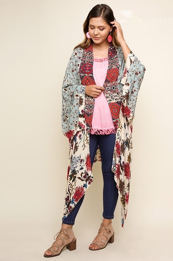 Multicolored Floral Long Body Kimono