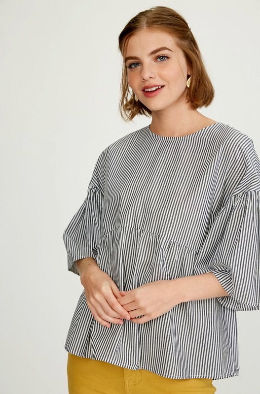 Striped Bell Sleeve Back Tie