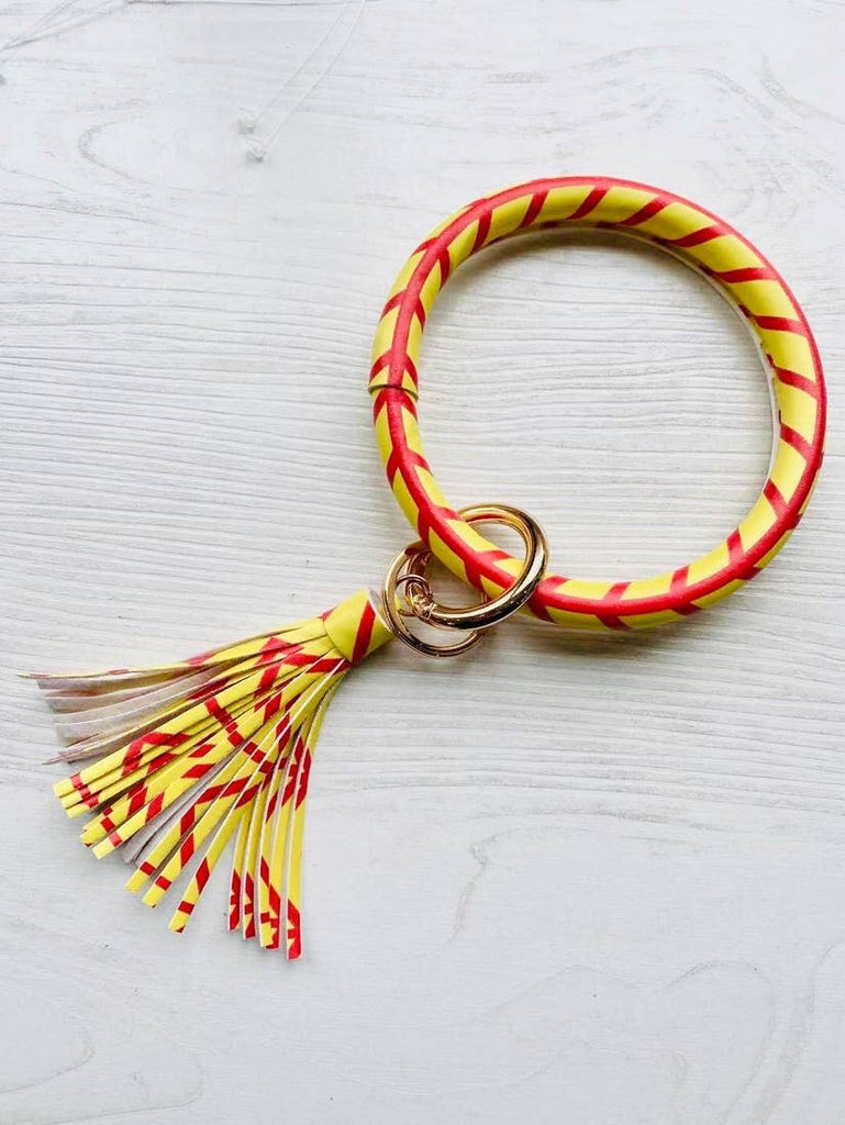 Pattered Tassel Key Ring Bangles