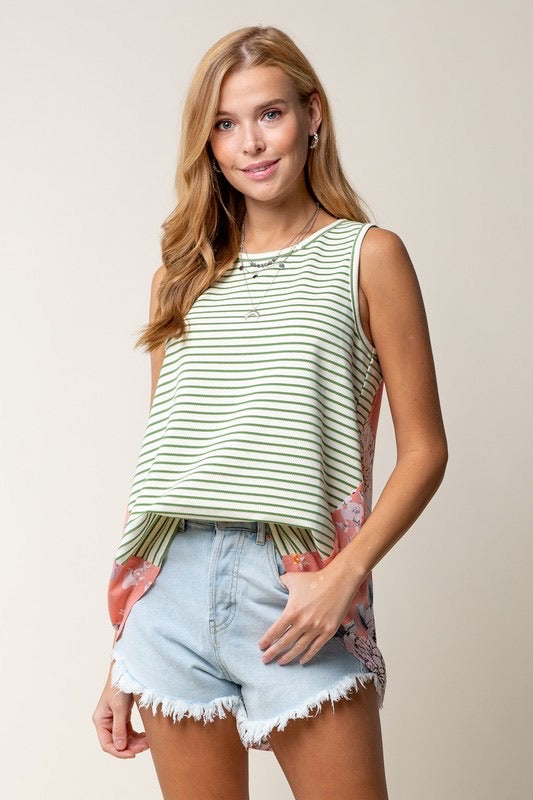 Green Stripes with Floral Back Tank