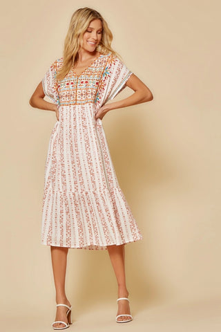 Rust Embroidered Dress