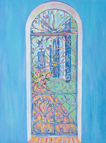 """Iron Gates on Rainbow Row"" I (blue) vertical"