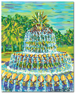 """Pineapple Fountain"" I vertical (blue-green)"